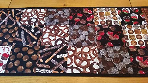 Chocolate Lovers Table Runner, Chocolate Color Cherries, Bon Bons, Biscotti, Milk Duds, Chocolate Covered Pretzels, Housewarming GIft Ideas, Hostess Gift, Candy Maker GIft, Whimsical Home Decor