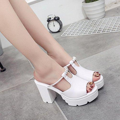 Tinta Rilievo Piattaforma Sandali Alto Estiva 39 dimensioni Peep Tacco Unita Con In Bianco 35 Toe Plateau Tefamore Zeppa rqIIwpvH0