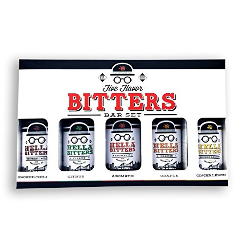 Hella Cocktail Co. | 5-Pack Bitters Bar Set, 8.5 oz total | Craft Aromatic, Orange, Ginger, Citrus, and Smoked Chili Cocktail Bitters made with Real Fruit Peel and Whole Spices - For the Homebar ()