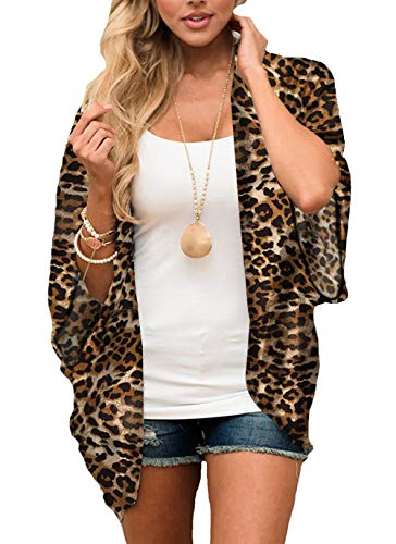 (casuress Women's Cardigan-Sheer Kimono Loose Summer Floral Print Cover Ups (XX-Large, Leopard))
