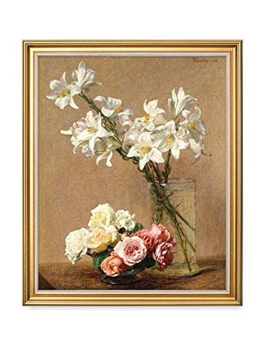 DECORARTS - Roses and Lilies, Henri Fantin-Latour Classic Art. Giclee Prints Framed Art for Wall Decor. 16x20, Total Size w/Frame: 18.5x22.5