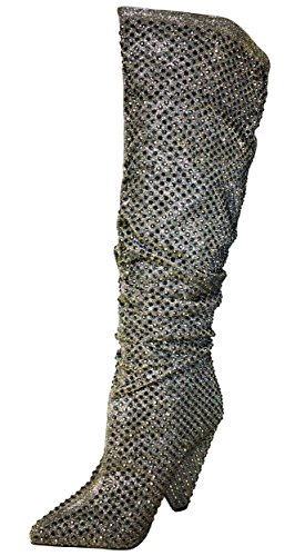 Pewter Slouch Boot Rhine Stones Embellished in Bamboo Women's A16waa
