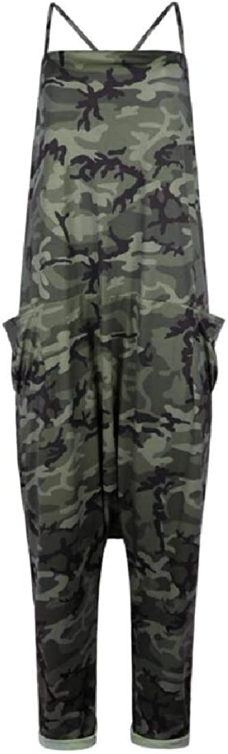 CBTLVSN Womens Camo Spaghetti Strap Casual Loose Harem Pockets Jumpsuits Rompers