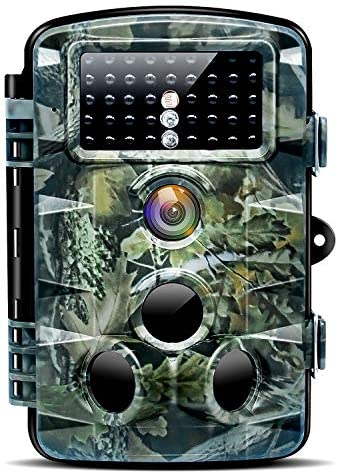 Nycetek Trail Game Camera, Hunting Cameras with 120 Wide Angle Night Vision 0.2s Trigger Time 1080P 16MP Trail Camera with Low Glow and IP66 Waterproof 2.4 LCD 42pcs for Outdoor Wildlife Watching