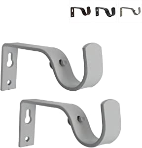 gb Home Collection Curtain Rod Brackets, White, Set of 2, Premium Steel Cafe Rod Bracket for Walls, Curtain Rod Holder