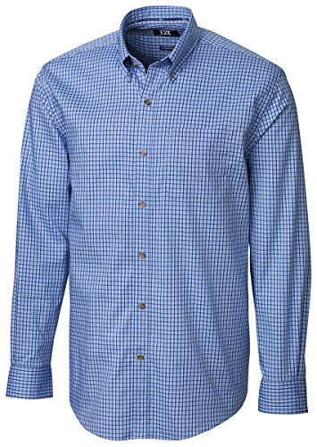 Cutter & Buck Men's Big-Tall Long Sleeve Richard Check Woven Shirt, Blue Gem, 4X/Big
