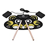 Muslady Drum Set Kit Cartoon Children Kids Electronic Drum Roll Up Silicon with Drumsticks Foot Pedals USB Cable