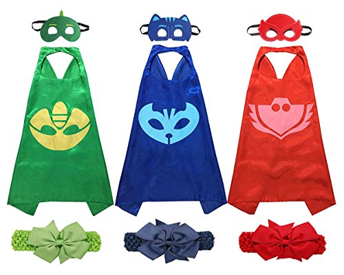 Sprric Cartoon Hero Masks Costumes for Kids Set of 3 Capes and Masks with Hair Bands (Custom Made Captain America Costume)