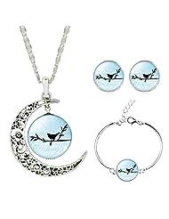 Jiayiqi Women Lively Black Mini Birds Twitter Charm Bracelet Earrings Necklace Sets Jewelry Set