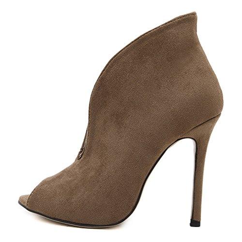 Low Top apricot Modern Dance AdeeSu Suede Womens Boots Toe Peep Bx7qZ
