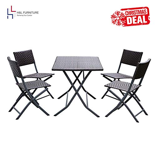 H&L Patio Resin Rattan Steel Folding Bistro Set, Parma Style, All Weather Resistant Resin Wicker, 5 PCS Set of Foldable Table and Chairs, Color Espresso Brown, 1 Year ()