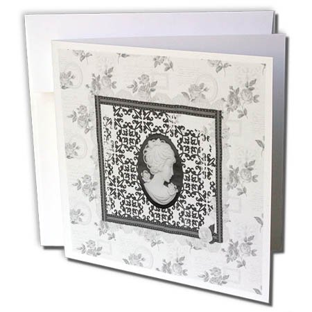 3dRose Beverly Turner Cameo Design - Black and White Cameo in Damask Frame, Rose Background - 6 Greeting Cards with envelopes ()