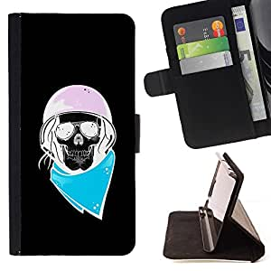 Momo Phone Case / Flip Funda de Cuero Case Cover - Biker Azul Rosa Negro motorista Casco - Samsung Galaxy J1 J100