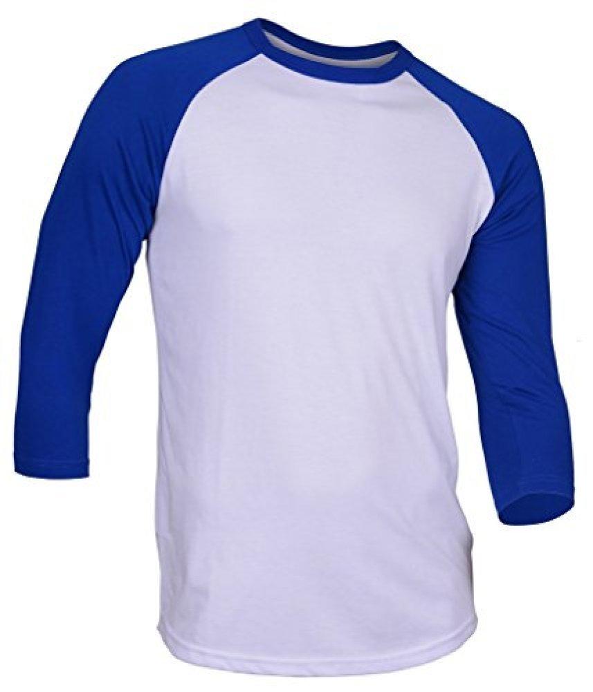 DREAM USA Men's Casual 3/4 Sleeve Baseball Tshirt Raglan Jersey Shirt White/Blue Large