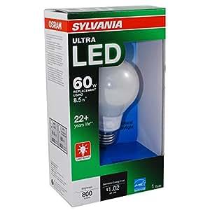 sylvania 8 5 watt 60w equivalent 5000k a19 medium base e 26 dimmable daylight indoor led. Black Bedroom Furniture Sets. Home Design Ideas