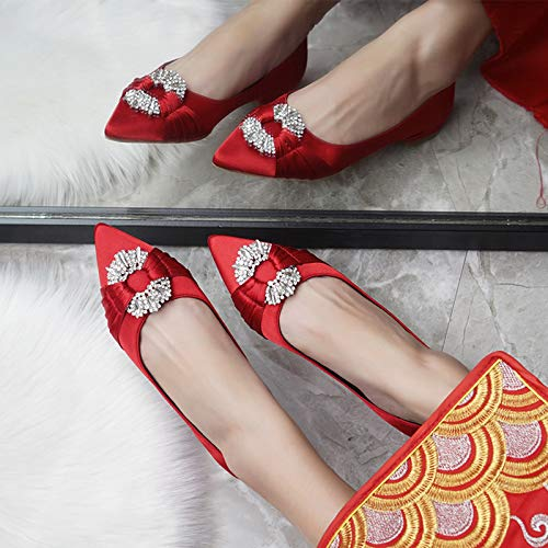LBTSQ Damenschuhe Rot Rot Rot Flache Sohle Absatz 1 cm Hoch Hexiu Bekleidung Schuhe Tasten Platz Wasser Bohrt Schwangere Frauen Einzelne Schuhe Spitze 100 - Sets Hochzeit Schuhe 87886d