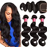 Nadula 8A Unprocessed Brazilian Remy Virgin Human Hair Body Wave Weave Pack of 3 with Lace Closure Natural Color