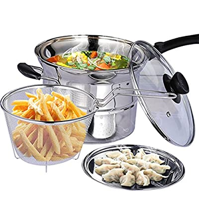3 Quart Stainless Steel 3 Piece Pasta Pot Stockpot with Steamer Insert Boil Basket