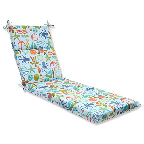 Pillow Perfect Outdoor Seapoint Summer Chaise Lounge Cushion, Blue