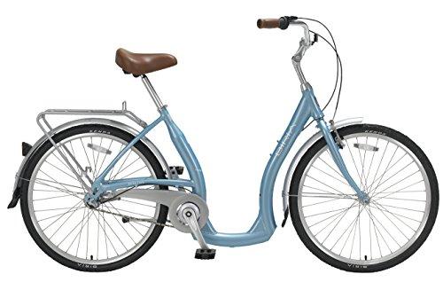 Biria Step Through 3-speed Shimano Nexus internal Hub, Aluminum, Light Blue, 15 Inch frame size Cruiser comfort German design Bicycle