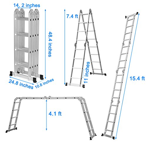 Finether 15.4ft Heavy Duty Multi Purpose Aluminum Folding Extension Ladder with Safety Locking Hinges 330lb Capacity (New Non-slip Mat and Wheels for Free) by Finether (Image #3)