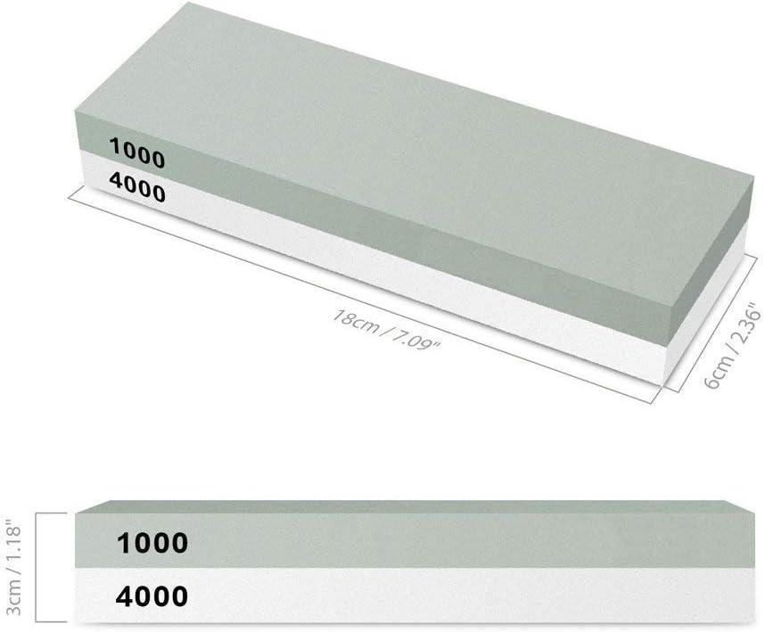 K/örnung 400//1000 mit rutschfestem Silikonhalter Yododo 2-IN-1 Schleifstein Abziehstein f/ür Messer Wetzstein