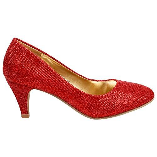 ByPublicDemand Leona Womens Mid Heel Slip On Court Shoes Red Shimmer krXQvlKD6