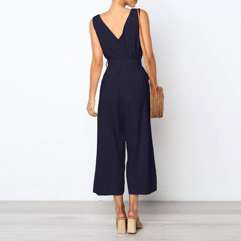21e0c5a2a27 TEBAISE Printemps-été vêtements personnalisés Combinaison de Plage Large  sans Manches Taille Bouton Dos Nu Femmes