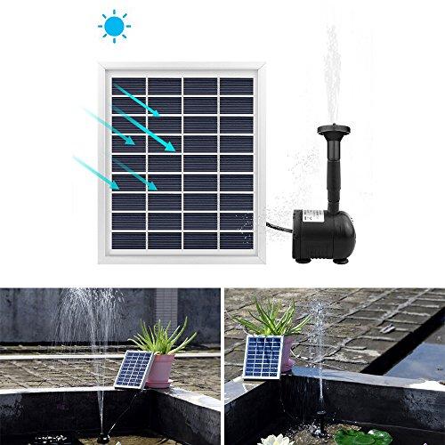 ALLOMN 2W Solar Pump Fountain Submersible Water Pump Panel Kit 55cm/22Inch height for Garden Plants Pool Pond Bird Bath (Waterfall Pond Installation)