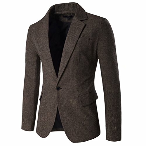 Tweed Lined Fully Coat (Men's Blazer Jacket Herringbone Sport Coat Smart Formal Dinner Cotton Suits Slim Fit One Button Notch Lapel Coat)