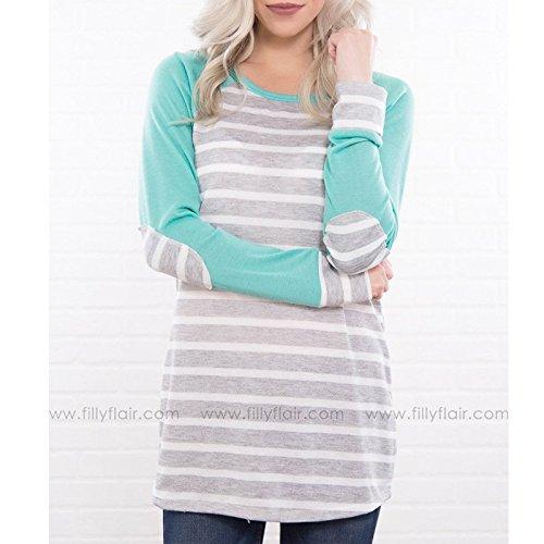 Casual Magliette Top Shirt Rotondo Slim shirt Basic A Manica Unique Fit Righe Eleganti T Grigio Fashion Collo Donna Hx T Lunga Moda pwCqZZ