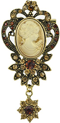 Cameo Brooch Flower Pin (Gyn&Joy Old Style Victorian Lady Crystal Rhinestone Cameo Maiden Pin Brooch Flower BZ028)