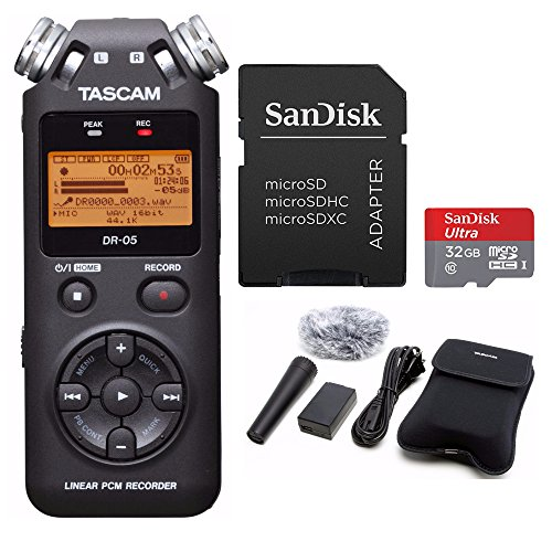 Tascam DR-05 Digital Recorder with Tascam Accessory Kit and 32GB Micro Card by Tascam
