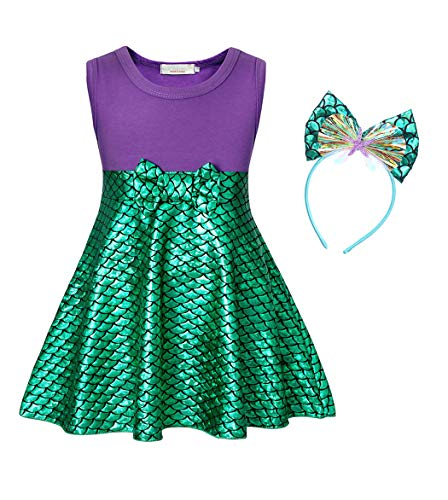 Mermaid Dress For Girls (Cotrio Sleeveless Little Mermaid Dress Up Ariel Princess Costume Girls Fancy Party Dresses Halloween Cosplay Outfits with Headband Size 10 (6-7 Years, Purple+Green,)