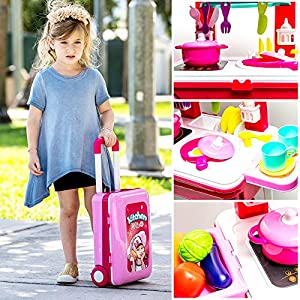 Pretend Play Kitchen Playset for Kids   Little Chef Kitchen set Toy with Accessories Pots, Pans, dishes, cups, utensils…