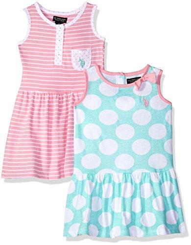 U.S. Polo Assn. Girls' Toddler Multi, Dress Pack Stripes dots Prism Pink, 2T
