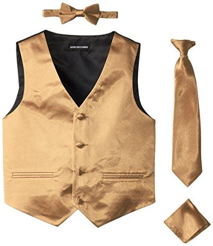 American Exchange Big Boys' Boys Satin 4 Piece Vest Set, Gold, 14