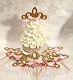 12 Pink and Gold Glitter Tiara Cupcake Toppers