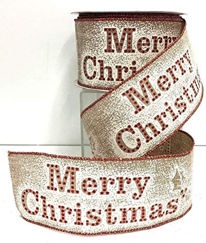 Merry Christmas Linen Wired Ribbon~Natural, Red Glitter,White~2 1/2'' Wx9 yd RE-288