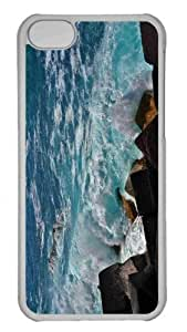 Customized iphone 5C PC Transparent Case - Wave Breaker Personalized Cover