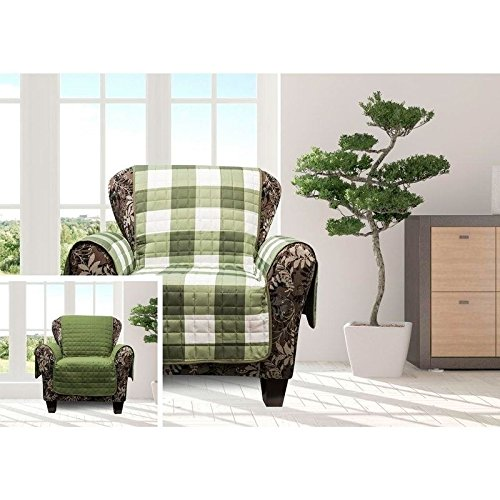 MN 1 Piece Sage Green Plaid Chair Protector, Hunting Themed Furniture Protection Couch Cabin House Pattern Checked Tartan Pets Animals Covering Soft Lodging Buffalo Checkered Covers, Polyester by MN