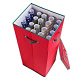 Elf Stor Premium Christmas 30 Inch Wrapping Paper Storage Box with Lid, Red