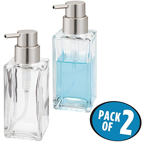mDesign Square Glass Liquid Soap Dispenser Pump Bottle for Kitchen Sink, Bathroom Vanity Countertops: Also for Hand Lotion & Essential Oils - 14 oz, Pack of 2, Clear/Brushed Nickel Pump - Soap Nickel Square Dispenser