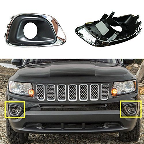 Nicebee 1 Set 2015-2016 2.4 Plating Bezel Front Fog Lights Lamps Cover For Jeep Compass