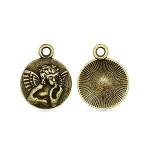 Pack 30 x Steampunk Antique Bronze Tibetan 19mm Charms Pendants (Angel) - (ZX15885) - Charming Beads