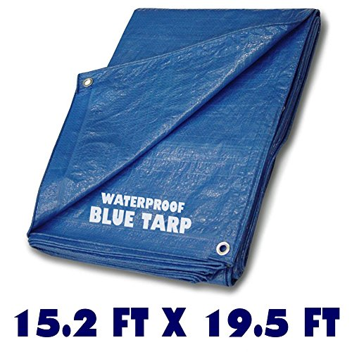 - Blue Multi-purpose Waterproof Poly Tarp Cover - 15.2 ft x 19.5 ft - Light Duty Tarp - Tent Shelter Camping - Weather and Construction Tarp Cover - Water, Mildew, Tear Resistant Tarp Aluminum Grommets