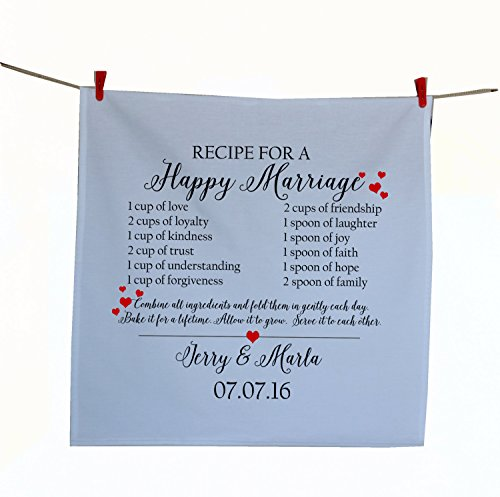 Amore Beaute Handcrafted Customized Wedding Tea Towel Recipe