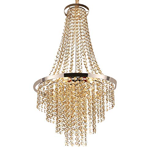Luxurious Crystal Chandelier with Octagon Shape Crystal Lighting Fixture Pendant Lamp for Dining Room Bathroom Bedroom Living-Room 3 E26 LED Bulbs (Champagne Gold)