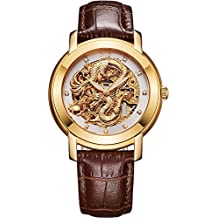 BOS Men's 'Chinese Dragon Collection 'Automatic Mechanical White Dial Stainless Steel Calfskin Band Waterproof Watch 9007