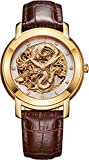 BOS Men's 'Chinese Dragon Collection 'Gold Dial Calfskin Band Automatic Mechanical Wrist Watch 9007
